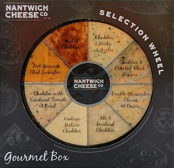 Nantwich Cheese Gourmet Selection Wheel - 8 x 100g different flavoured cheeses
