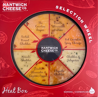 Nantwich Cheese Heat Selection Wheel - 8 x 100g of spicy flavoured cheese