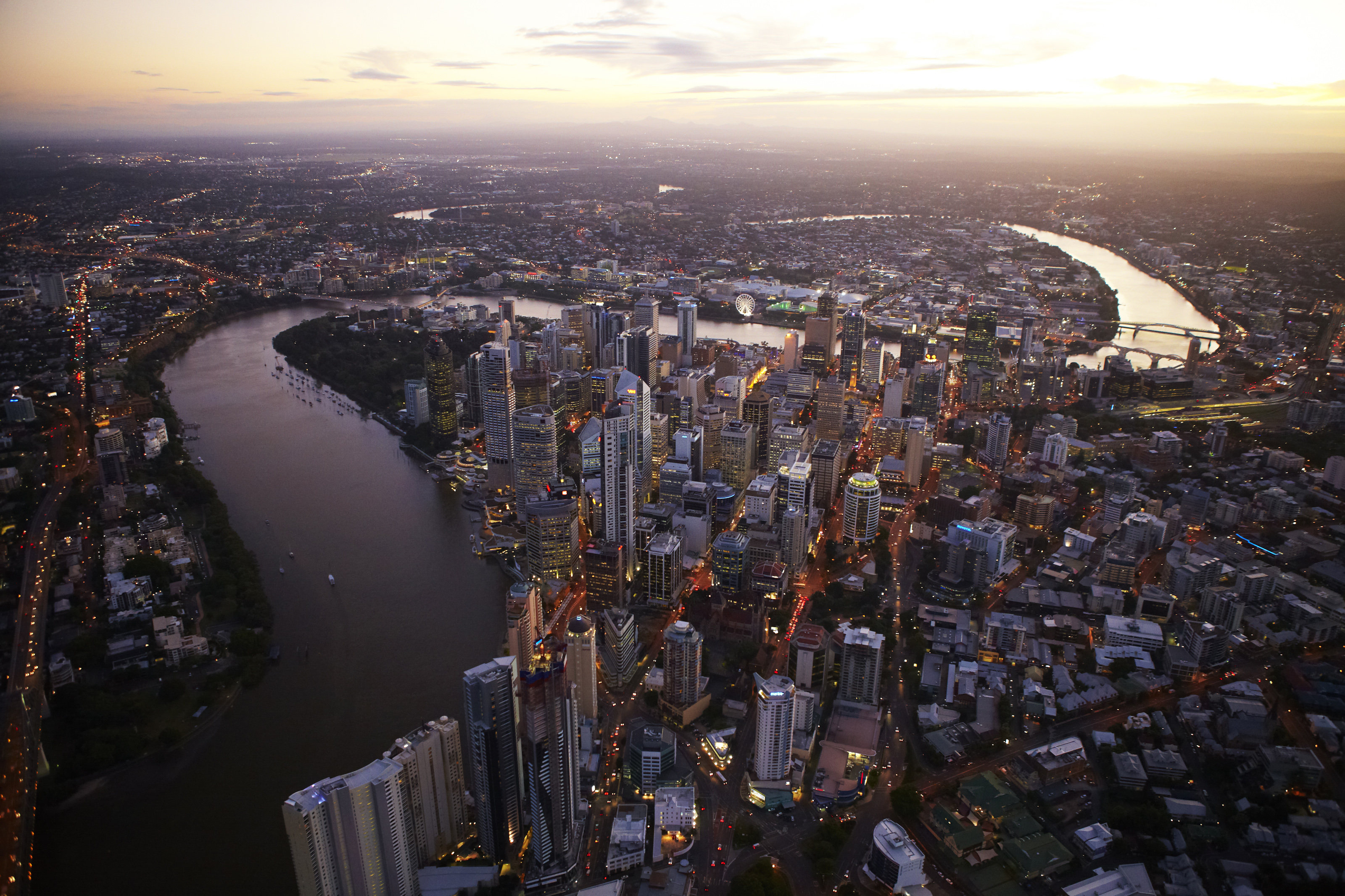 Brisbane dusk aerial 2