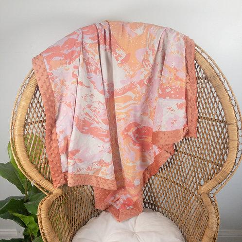Coral & Pink Watercolor Vintage Blanket