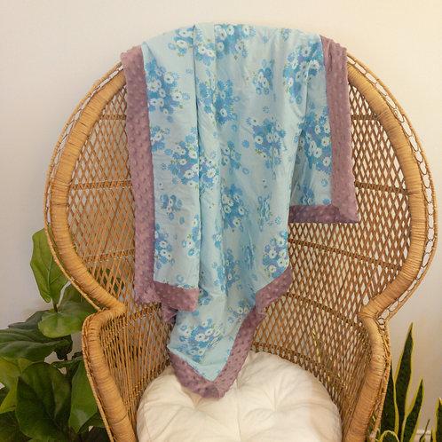 Blue and Purple Flowers Vintage Blanket