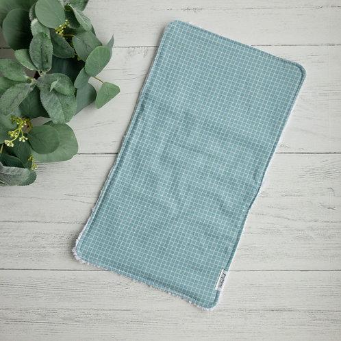 Sky Blue Grid Chenille Burp Cloth