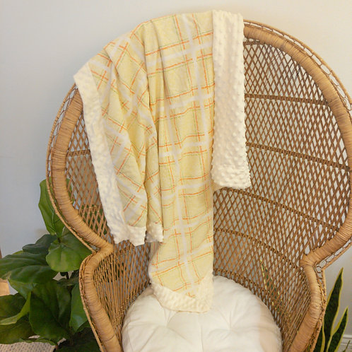 Yellow & Orange Plaid Vintage Blanket