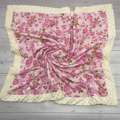 Cream & Pink Floral Vintage Blanket