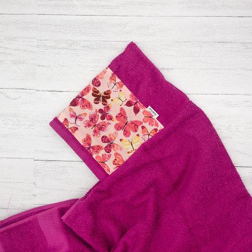 Pink Butterflies Hooded Towel