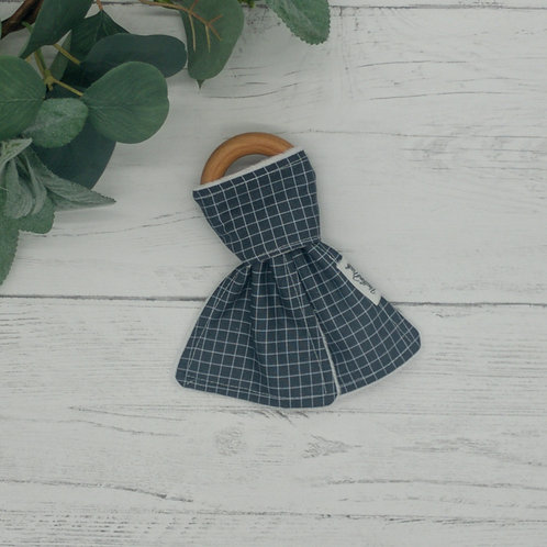 Gray Grids Teething Ring