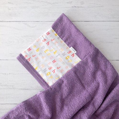 Letters Purple Hooded Towel