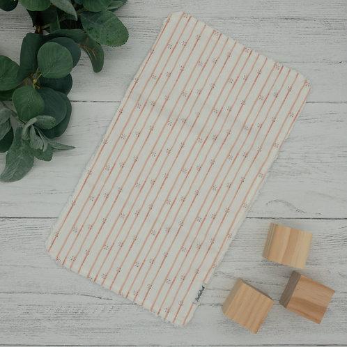 Coral Floral Stripes Chenille Burp Cloth