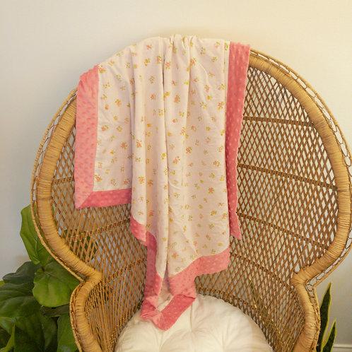 Pink Flowers Vintage Blanket