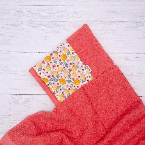 Lemons Coral Hooded Towel