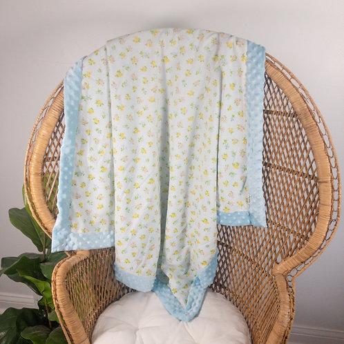 Baby Blue Flowers Vintage Blanket