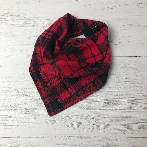 Red & Black Plaid Drool Bandana Bib