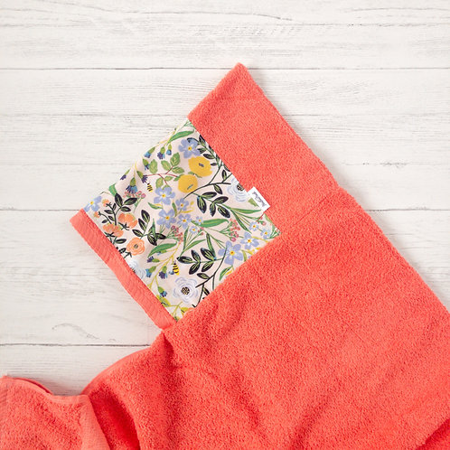 Bright Floral Coral Hooded Towel