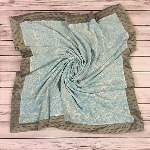 Blue & White Floral Vintage Sheet Blanket
