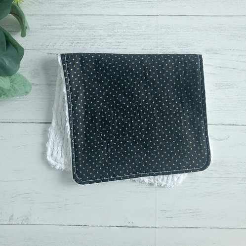 Black Gold Plus Chenille Burp Cloth