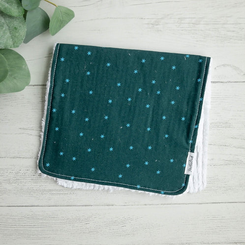 Teal Starbursts Chenille Burp Cloth