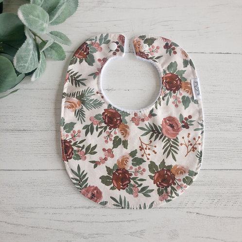 Mauve Floral Baby Bib