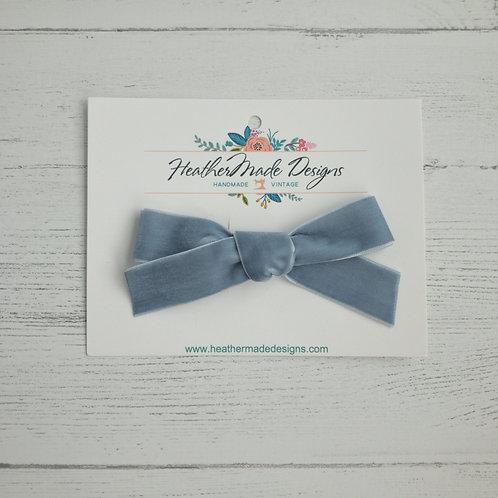 Gray Blue Velvet Bow
