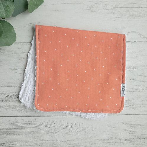 Coral Dots Chenille Burp Cloth