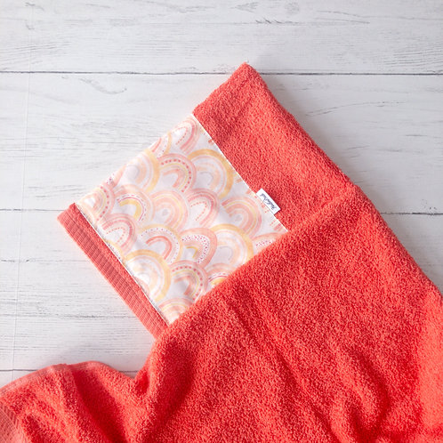 Coral Rainbows Hooded Towel
