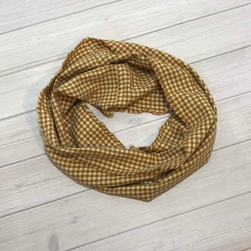 Mustard & Cream Gingham Child Infinity Scarf