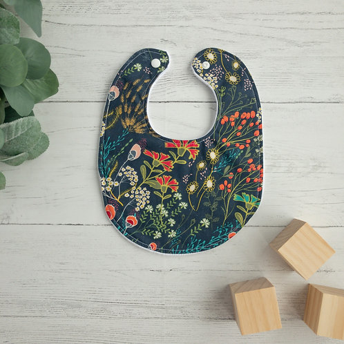 Navy Folk Meadow Baby Bib