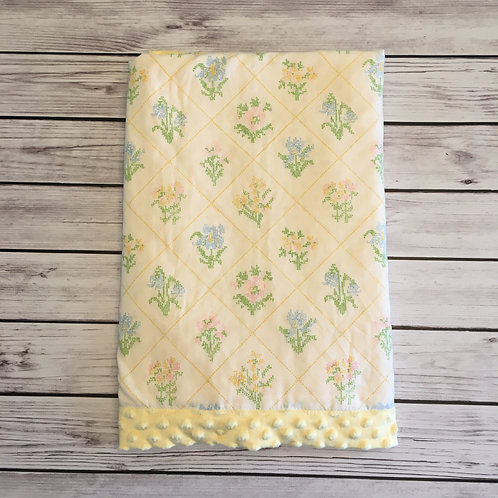 Yellow Garden Flowers Vintage Sheet Blanket