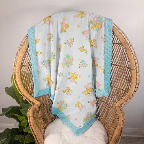 Aqua and Pink Floral Vintage Blanket