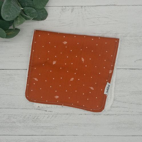 Rust Jungle Leaves Chenille Burp Cloth