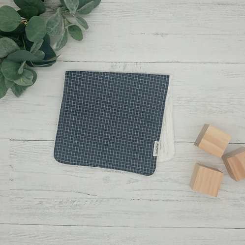 Gray Grids Chenille Burp Cloth