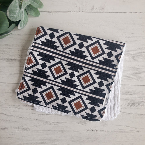 Black Aztec Pattern Burp Cloth
