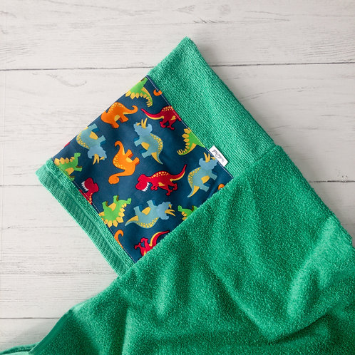 Green Dinosaur Hooded Towel