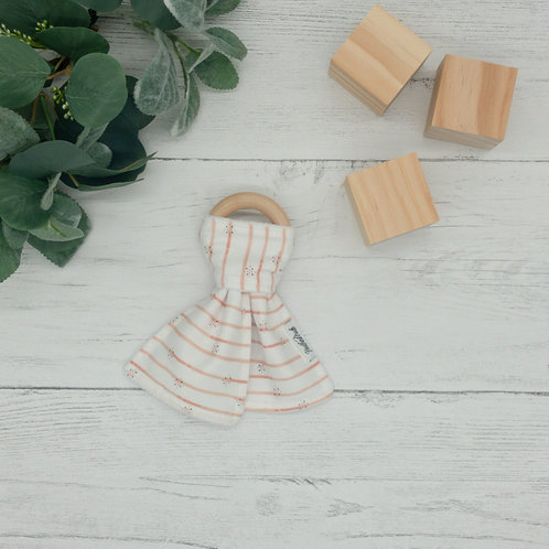 Coral Floral Stripes Teething Ring