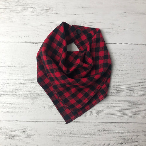 Red & Black Buffalo Check Drool Bandana Bib