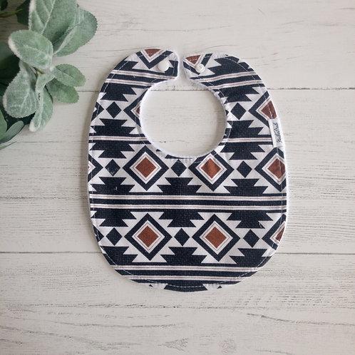 Black Aztec Pattern Baby Bib