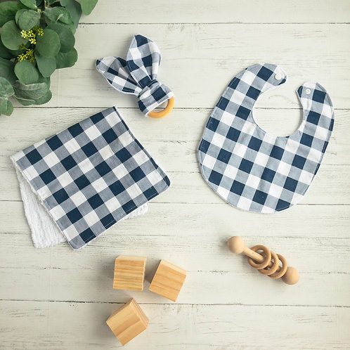 Navy Buffalo Plaid Baby Gift Bundle