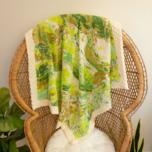 Green Watercolor Vintage Blanket