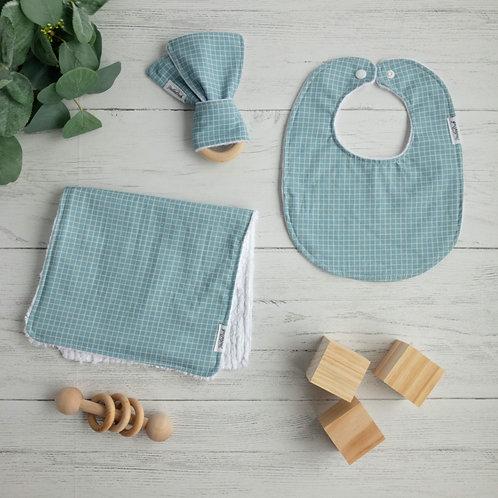 Sky Blue Grid Baby Gift Bundle