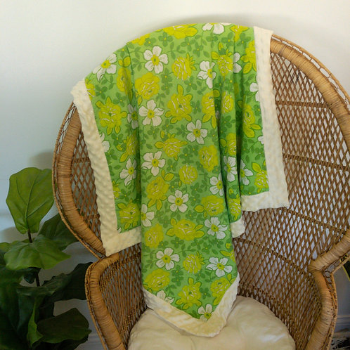 Green Floral Vintage Blanket