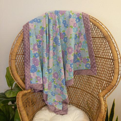 Purple Flower Power Vintage Blanket