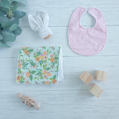 Spring Foral & Pink Dots Baby Gift Bundle
