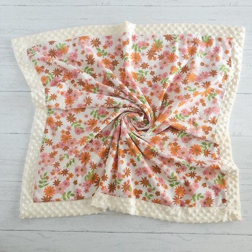 Coral, Pink & Rust Floral Vintage Blanket