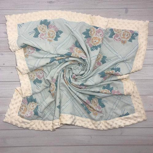 Coral & Blue Roses Floral Vintage Blanket
