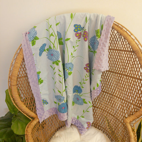 Purple Flowers Vintage Blanket