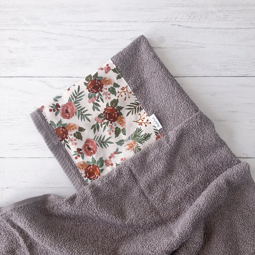 Rust & Mauve Floral Hooded Towel
