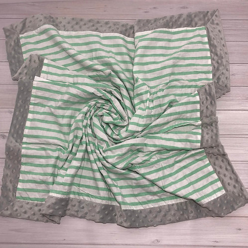 Mint Stripes Vintage Blanket