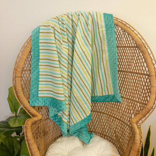 Teal with Stripes Vintage Blanket
