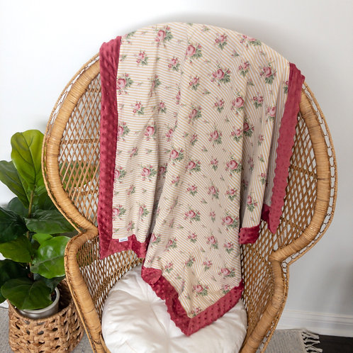 Mustard Stripe Roses Vintage Blanket