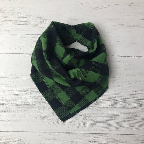 Green & Black Buffalo Check Drool Bandana Bib