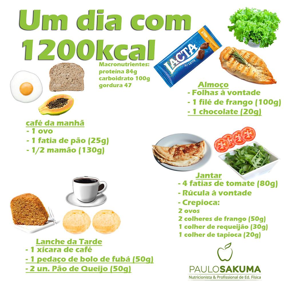 como fazer uma dieta com 1200 kcal